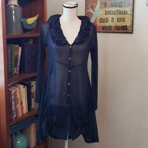 Dolcezza sheer navy tunic size L